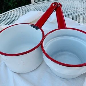 Vintage Farmhouse Red + White Enamelware Pots/Pans